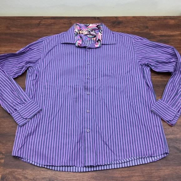Viscanti Other - VISCONTI Men Purple Stripe Button Down Dress Shirt